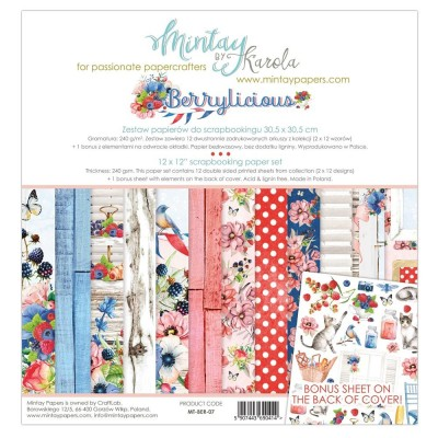 "Mintay - Papier 12"" X 12""  collection «Berrylicious» 12 pages recto-verso"