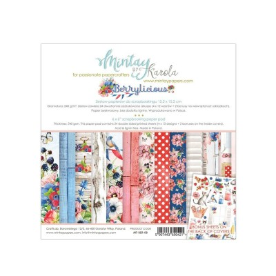 "Mintay - Papier 6"" X 6""  collection «Berrylicious» 24 pages recto-verso"
