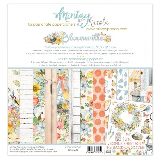 """Mintay - Papier 12"""" X 12""""  collection «Bloomville» 12 pages recto-verso"""