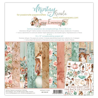 "Mintay - Papier 12"" X 12""  collection «Cozy Evening» 12 pages recto-verso"