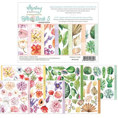 """Mintay - Papier 6"""" X 8""""  collection «Flora Book 5» 24 pages recto-verso"""