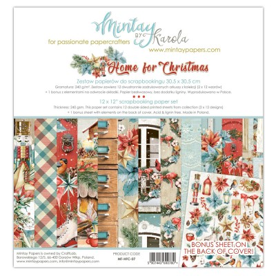 "Mintay - Papier 12"" X 12""  collection «Home for Christmas» 12 pages recto-verso"