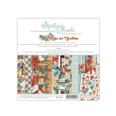"Mintay - Papier 6"" X 6""  collection «Home for Christmas» 24 pages recto-verso"