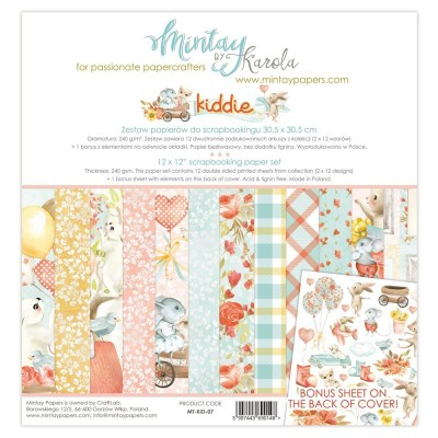 "Mintay - Papier 12"" X 12""  collection «Kiddie» 12 pages recto-verso"