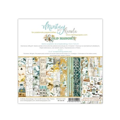 "Mintay - Papier 6"" X 6""  collection «Old Manor» 24 pages recto-verso"