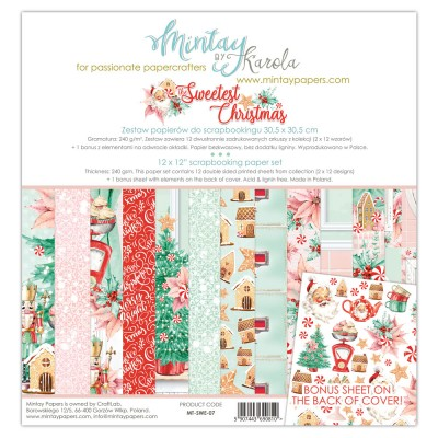 "Mintay - Papier 12"" X 12""  collection «The sweetest Christmas» 12 pages recto-verso"