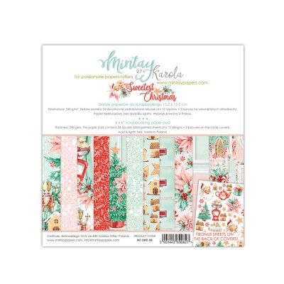 "Mintay - Papier 6"" X 6""  collection «The sweetest Christmas» 24 pages recto-verso"