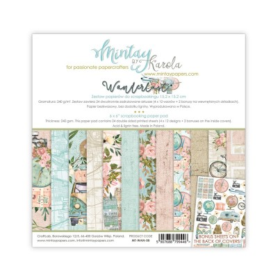 """Mintay - Papier 6"""" X 6""""  collection Wonderlust 24 pages recto-verso"""