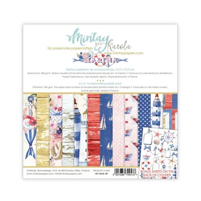 """Mintay - Papier 6"""" X 6""""  collection MArina 24 pages recto-verso"""