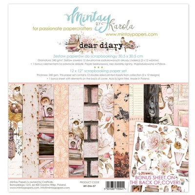 "Mintay - Papier 12"" X 12""  collection «Dear Diary» 12 pages recto-verso"