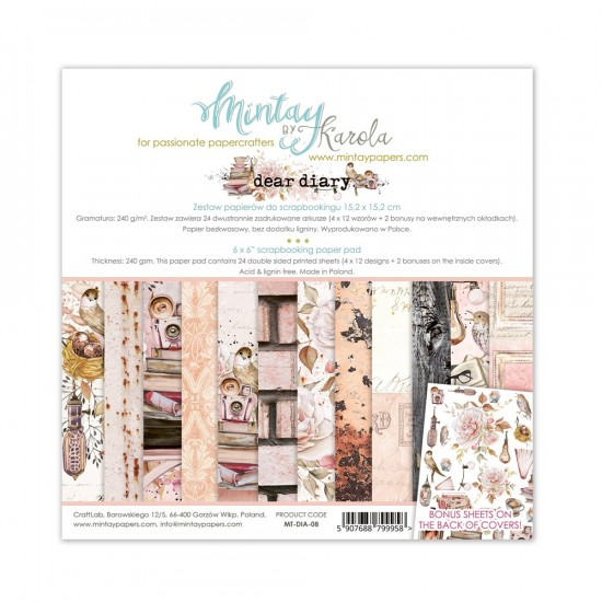 """Mintay - Papier 6"""" X 6""""  collection «Dear Diaries» 24 pages recto-verso"""