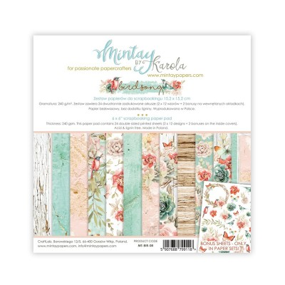 "Mintay - Papier 12"" X 12""  collection Birdsong 12 pages recto-verso"