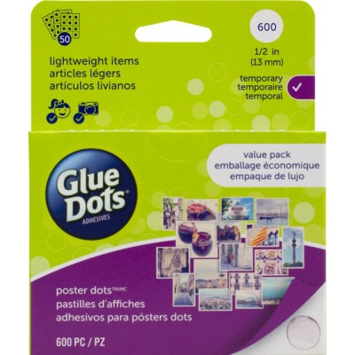 "Glue Dots  1/2""(13mm) Feuilles de 600 pcs"