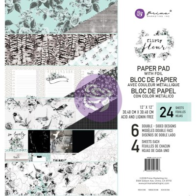 "Prima Marketing - Papier ""Flirty Fleur""  24 feuilles de 12'' X 12''"