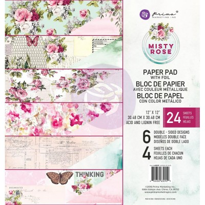 "Prima Marketing - Papier ""Misty Rose""  24 feuilles de 12'' X 12''"