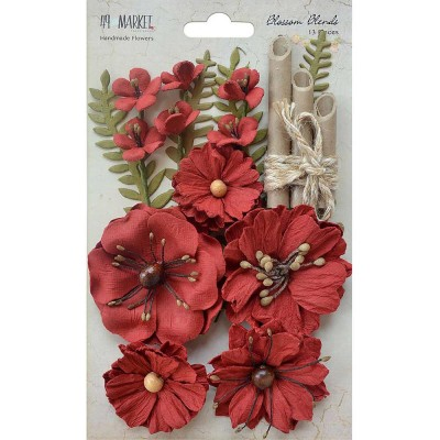 "49 & Market - Blossom Blends couleur «Poppy» 2.5"" 13/Pkg"