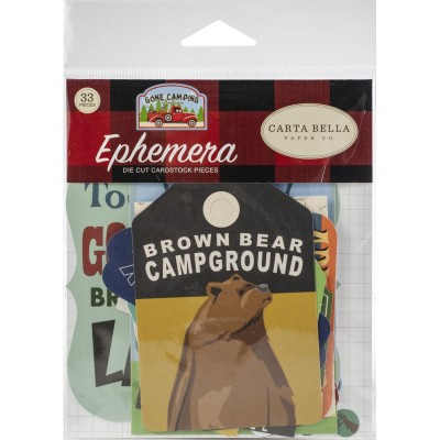 Carta Bella - Éphéméra «Gone Camping» ensemble  33pcs (avec ours)
