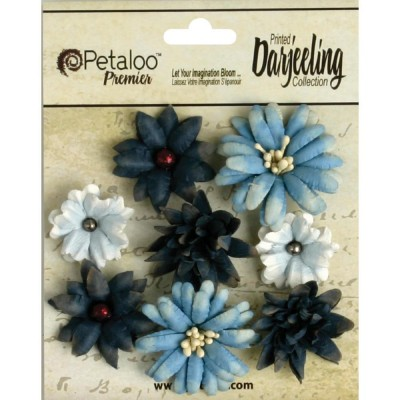 "Darjeeling Teastained Mini Mix FLeurs .75"" - 1.5"" paquet de 8"