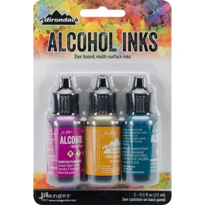 Tim Holtz - Ensemble «Alcohol Inks»  couleur Wild Plum / Buttrscotch / Stream