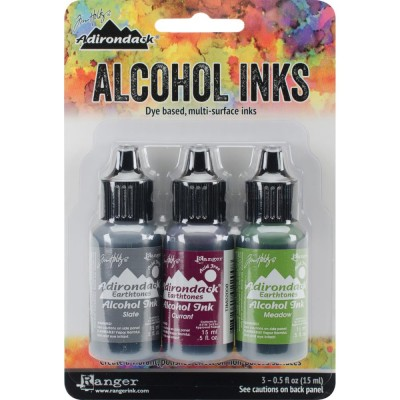Tim Holtz - Ensemble «Alcohol Inks»  couleur Slate / Currant / Meadow