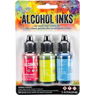 Tim Holtz - Ensemble «Alcohol Inks»  couleur Watermelon / Citrus / Sailboat