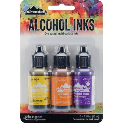 Tim Holtz - Ensemble «Alcohol Inks»  couleur Sunshine / Sunset / Pure Twilght