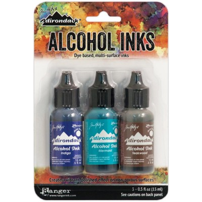 Tim Holtz - Ensemble «Alcohol Inks»  couleur Indigo / Mermaid / Teakwood