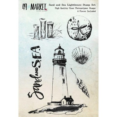 "49 & Market - Clear Stamps 4""X6"" ""Sand and Sea Lighthouse"""
