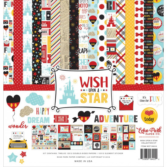 "Echo Park - Ensemble de papier 12"" X 12"" double face "" Wish upon a star""  12 feuilles"