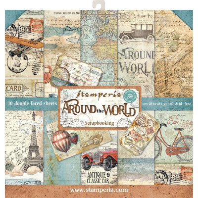 "Stamperia  -  Papier 12"" X 12"" ""Around the world"", 10 feuilles double- face"