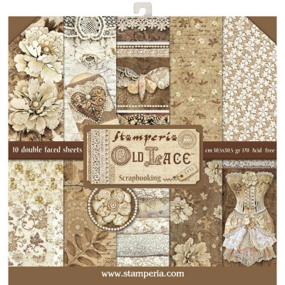 "Stamperia  -  Papier 12"" X 12"" ""Old Lace"", 10 feuilles double- face"