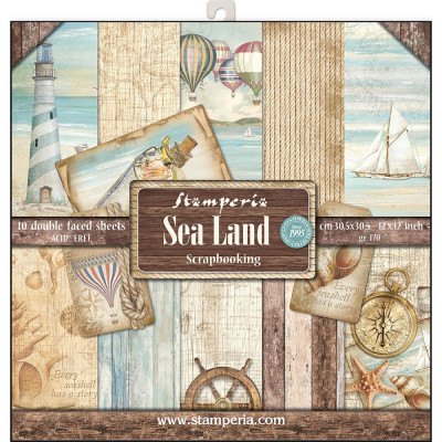 "Stamperia  -  Papier 12"" X 12"" ""Sea Land"", 10 feuilles double- face"
