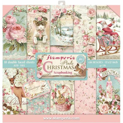 "Stamperia  -  Papier 12"" X 12"" ""Pink Christmas"", 10 feuilles double- face"
