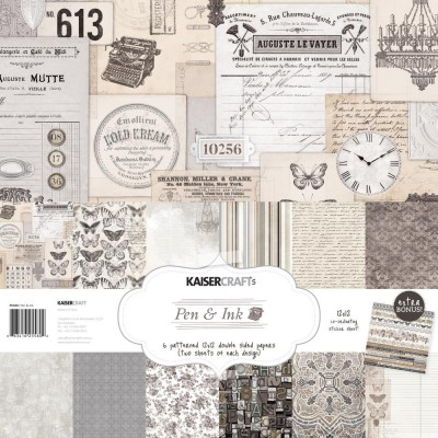 "Kaisercraft - ""Pen & Ink"" Ensemble de papier 12"" X 12""  12 feuilles"