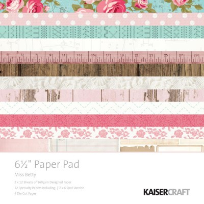 "Kaisercraft Paper Pad  ""Miss Betty""  6.5""X6.5"" 40pages"