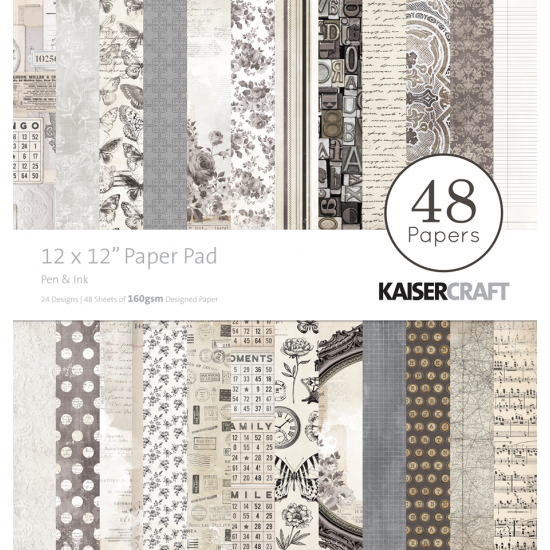 "Kaisercraft - ""Pen and Paper"" Ensemble de papier 12"" X 12"" 48 feuilles"