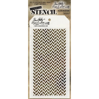 "Tim Holtz Layered Stencil ""Herringbone"" 4.125"" X 8.5"""