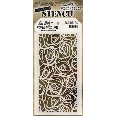 "Tim Holtz Layered Stencil ""Scribbles"" 4.125"" X 8.5"""