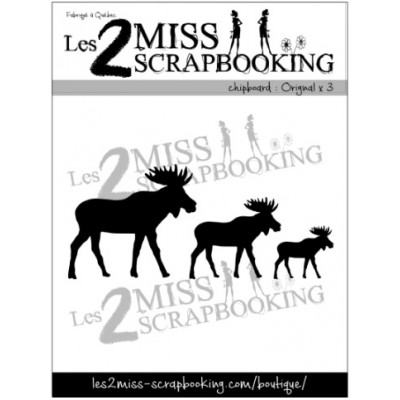 Les 2 Miss scrapbooking - Chipboard «Orignaux X3»