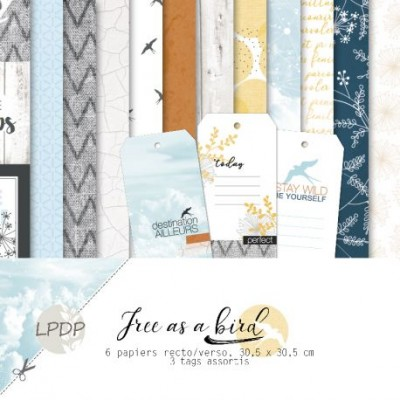 """Les Papiers de Pandore - Ensemble de papier collection «Free As a Bird» 12"""" x 12""""  6 feuilles recto-verso"""