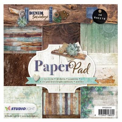 """Studio Light - Bloc de papier collection «Denim» 6"""" X 6""""  36 feuilles"""
