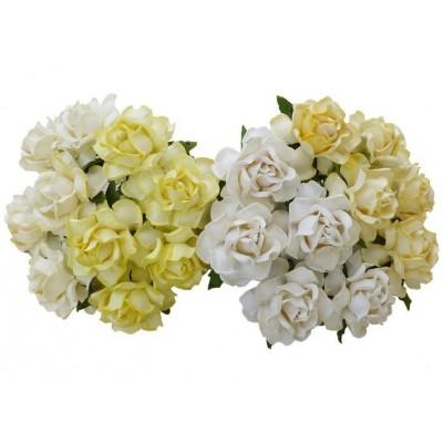 Wild Orchids - Fleurs Mulberry couleur «White & Cream MIX 30mm» 20 pièces