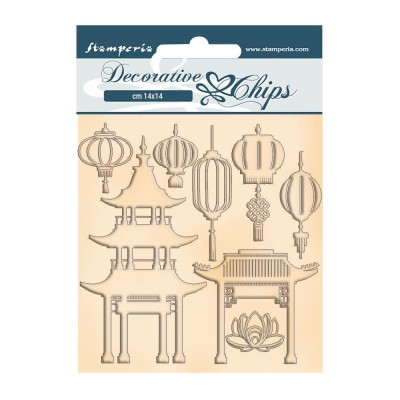 Stamperia - Chipboard «Sir Vagabond in Japan-Pagoda and Lamps» 8 pièces