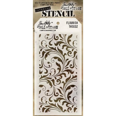 "Tim Holtz - Layered Stencil «Flourish»  4.125"" X 8.5"""