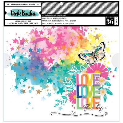 """PRÉCOMMANDE- Vicki Boutin - Ensemble de papier «Mixed Media Backgrounds-Color Study» 12""""X12""""  36 pages"""