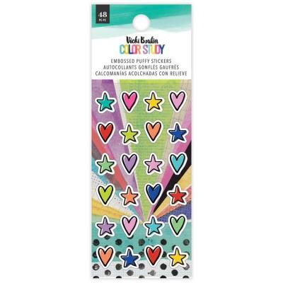 PRÉCOMMANDE- Vicki Boutin - Autocollant Puffy collection «Color Study» modèle  «Mini Stars» 48 pièces