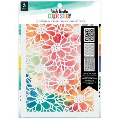 PRÉCOMMANDE- Vicki Boutin - stencil collection «Color Study» modèle «Fresh» 3 pcs