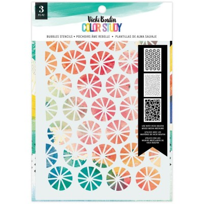 Vicki Boutin - stencil collection «Color Study» modèle «Bubbles» 3 pcs