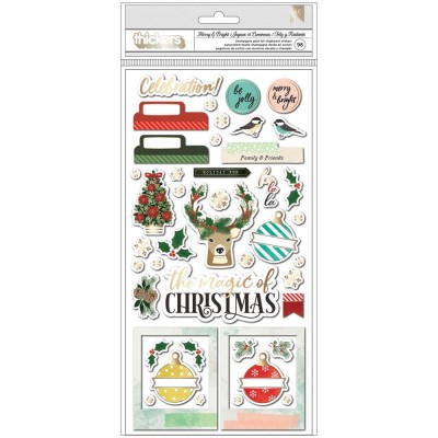 PRÉCOMMANDE- Vicki Boutin - Autocollants en chipboard Thickers collection «Warm Wishes-Merry and Bright» 98 pièces