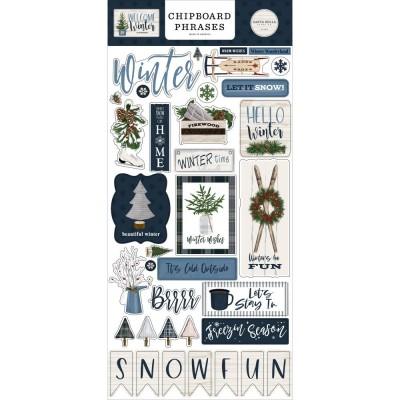 PRÉCOMMANDE- Carta Bella - Autocollant en chipboard phrases «Welcome Winter» 34 pièces